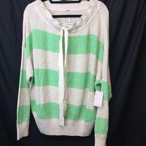 Free People Striped Knit Off Shoulder Sweater XL L